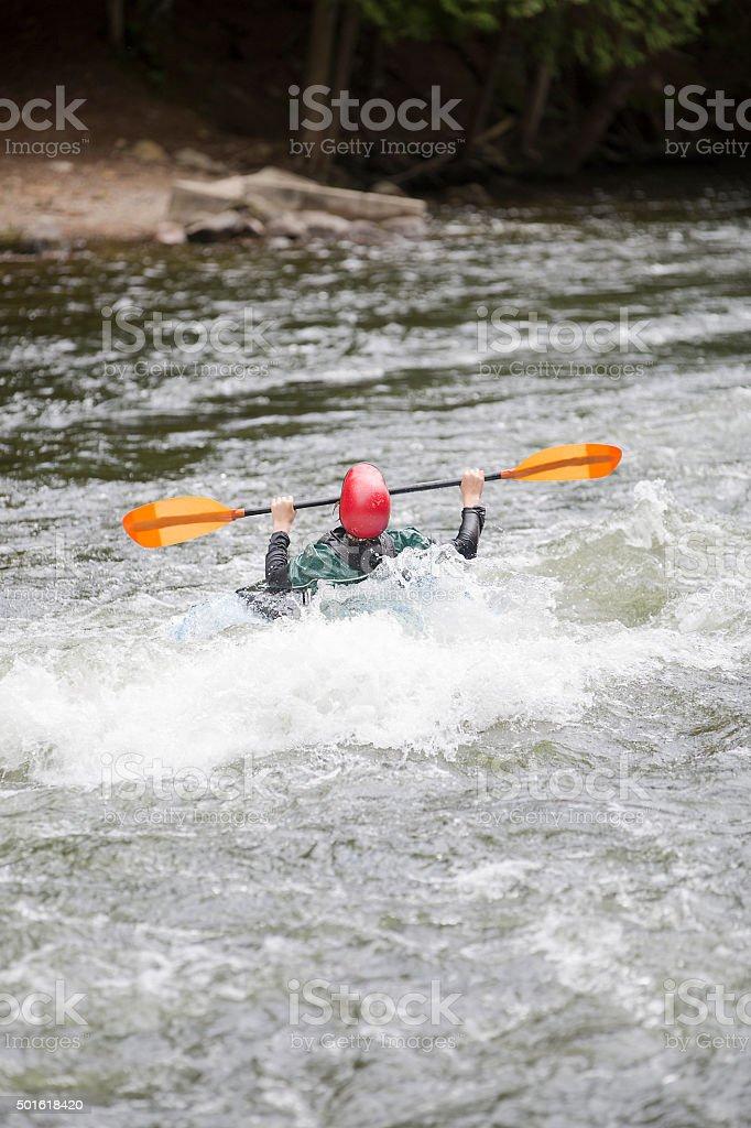 white water kayaing stock photo