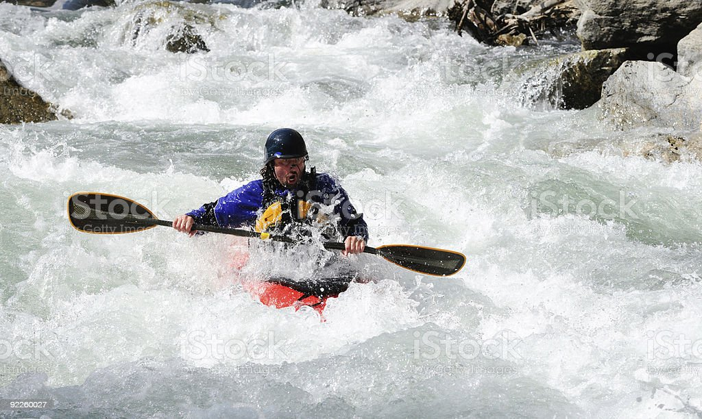 White water Kayaker with surprised look on his face. royalty-free stock photo