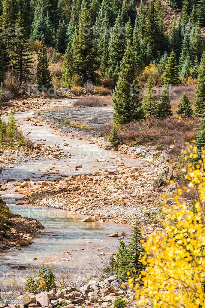 White water Mineral Creek in Colorado, USA during the fall stock photo