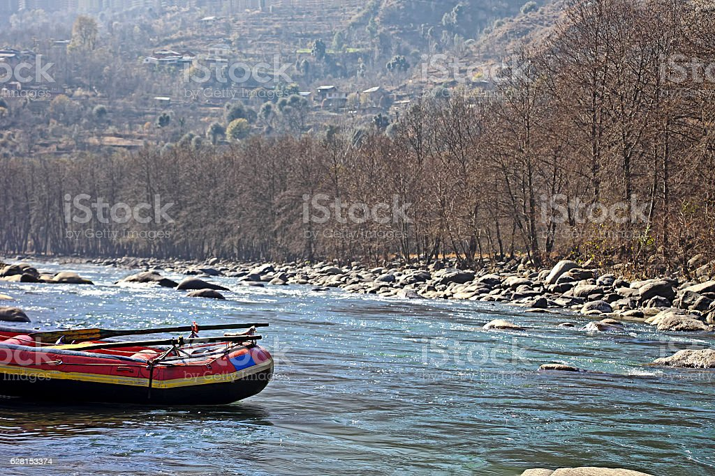 White Water Rafting Boat in Indian River stock photo