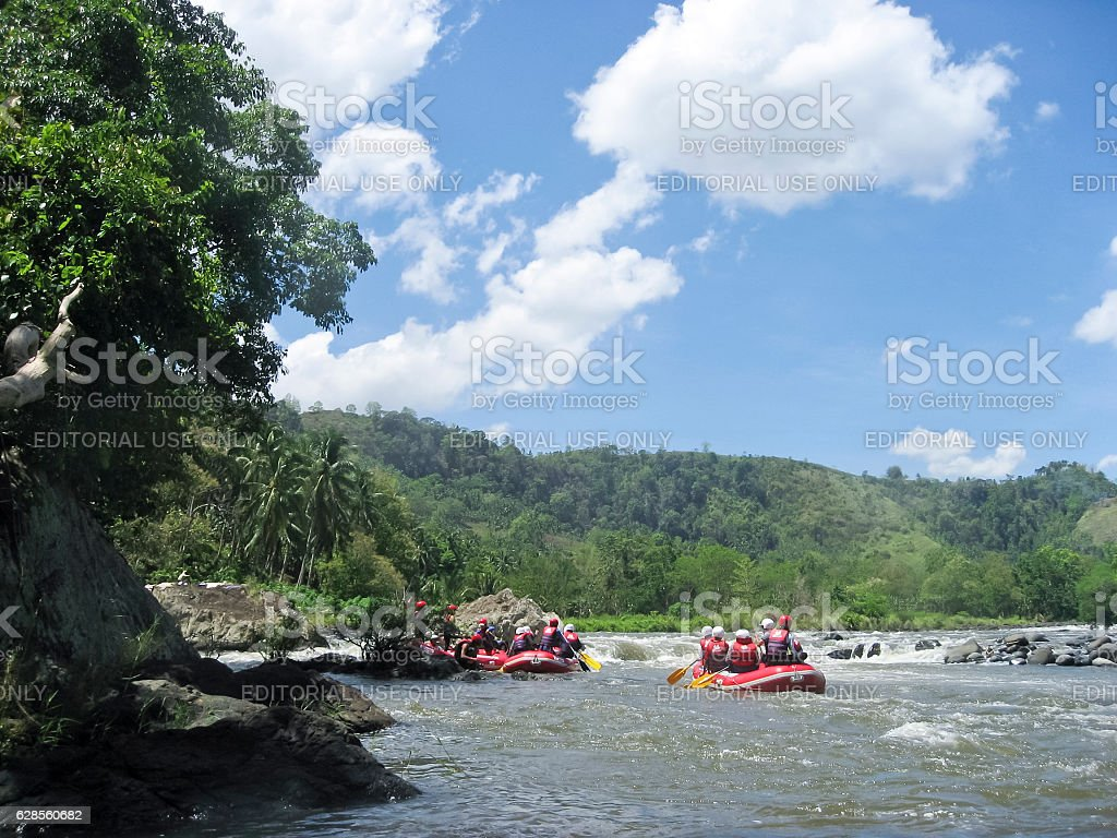 white water rafting cagayan river mindanao philippines stock photo
