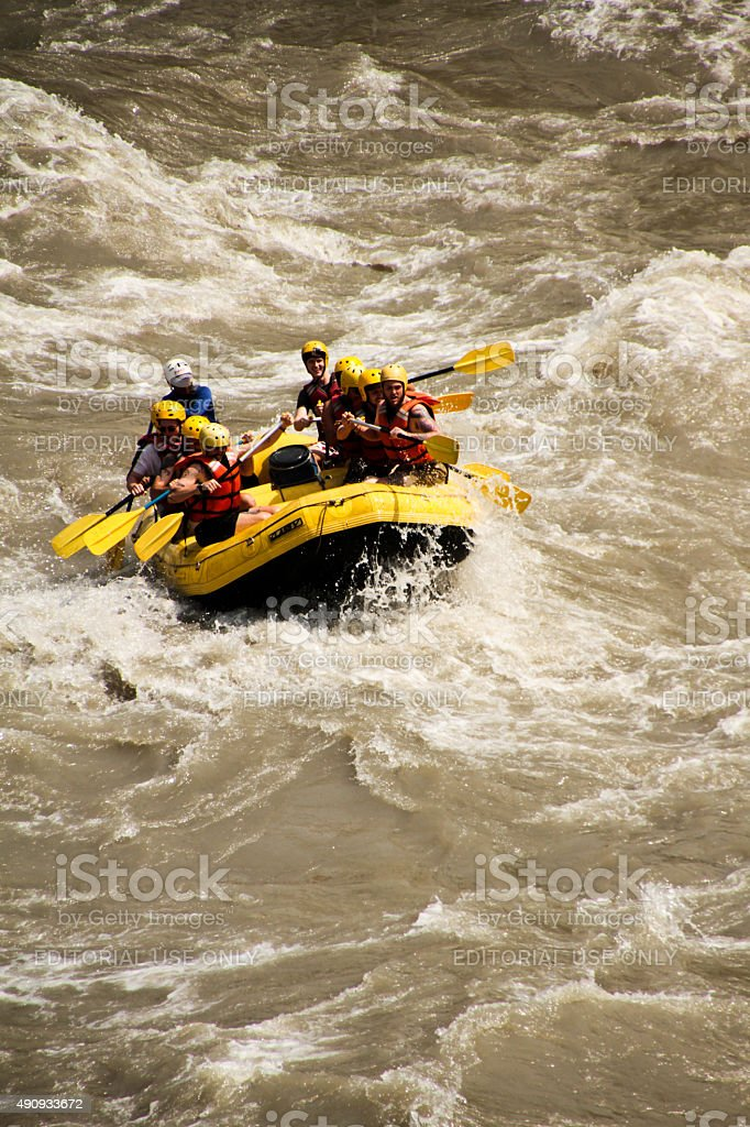 White water rafting in Nepal stock photo