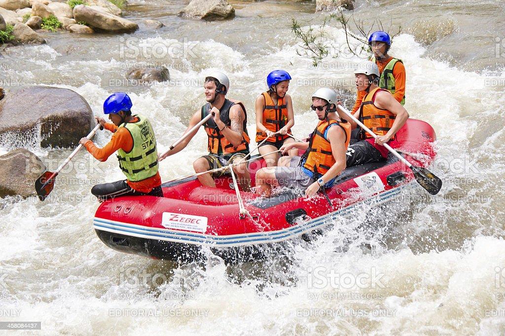 White water rafting in Phang nga, Thailand royalty-free stock photo