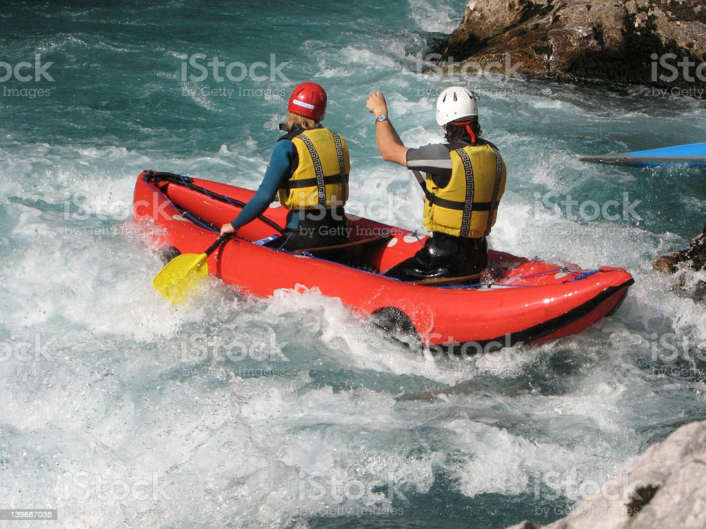 White water rafting on a river royalty-free stock photo