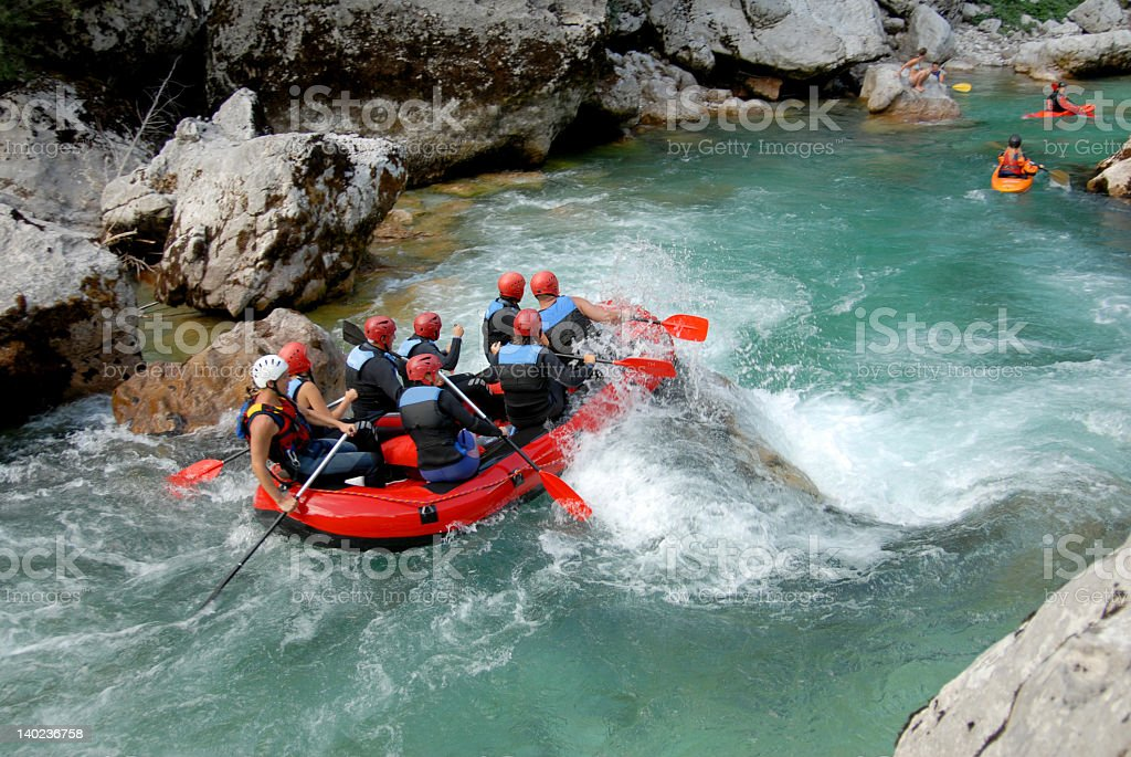 White water rafting on the rapids of river stock photo