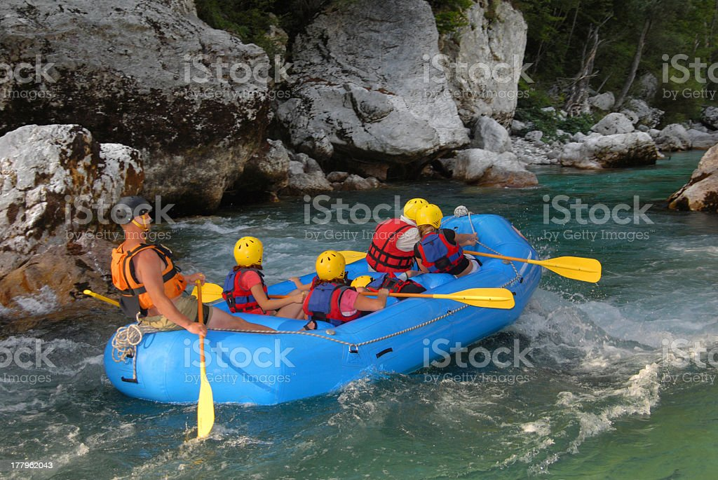 White water rafting on the rapids of river royalty-free stock photo