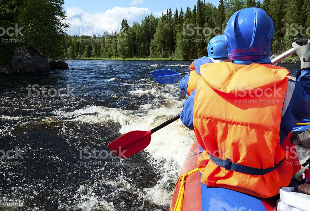 White water rafting stock photo