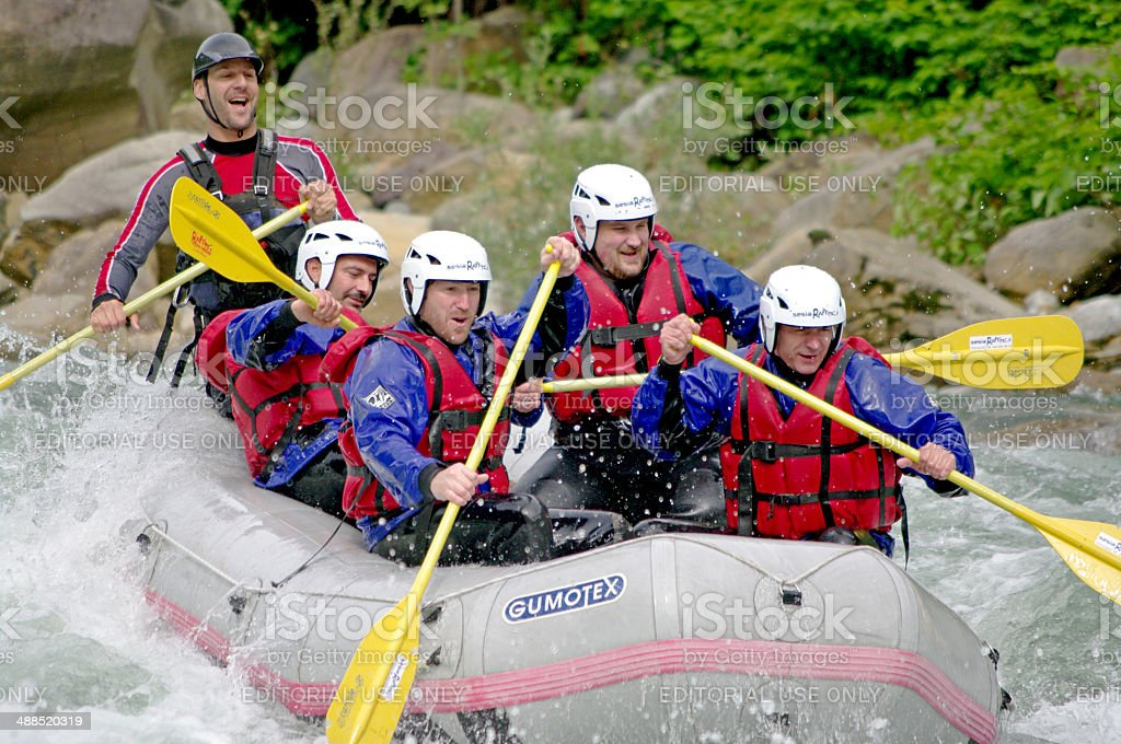 White water rafting stock photo