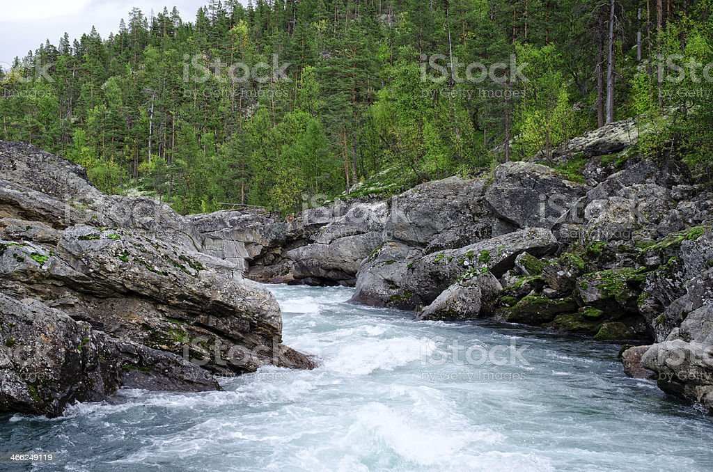 White water river in Norway stock photo