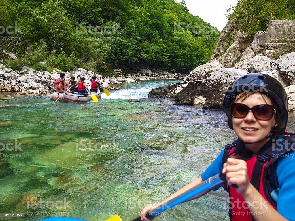 White Water River Rafting in Canyon, pontoons on Tara river stock photo