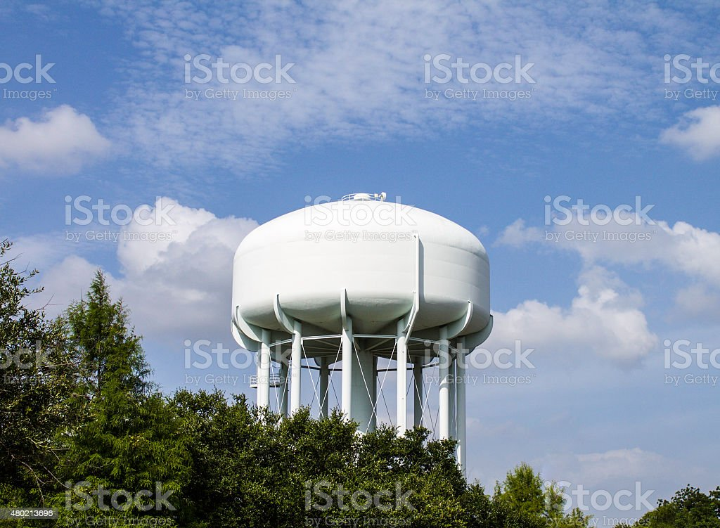 White Water Tower and Blue Sky stock photo