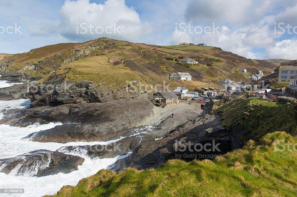 White waves Cornish coast village Trebarwith Strand North Cornwall uk stock photo