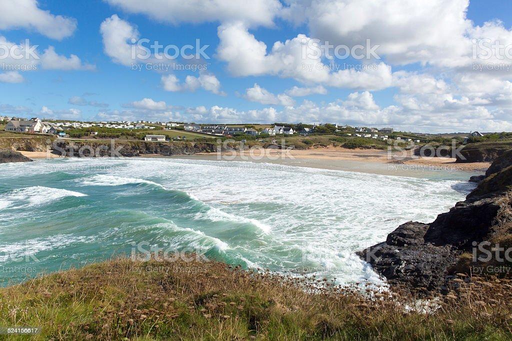 White waves Treyarnon Bay Cornwall England UK Cornish north coast stock photo