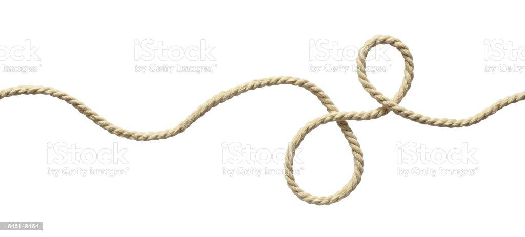 White wavy rope isolated on white stock photo