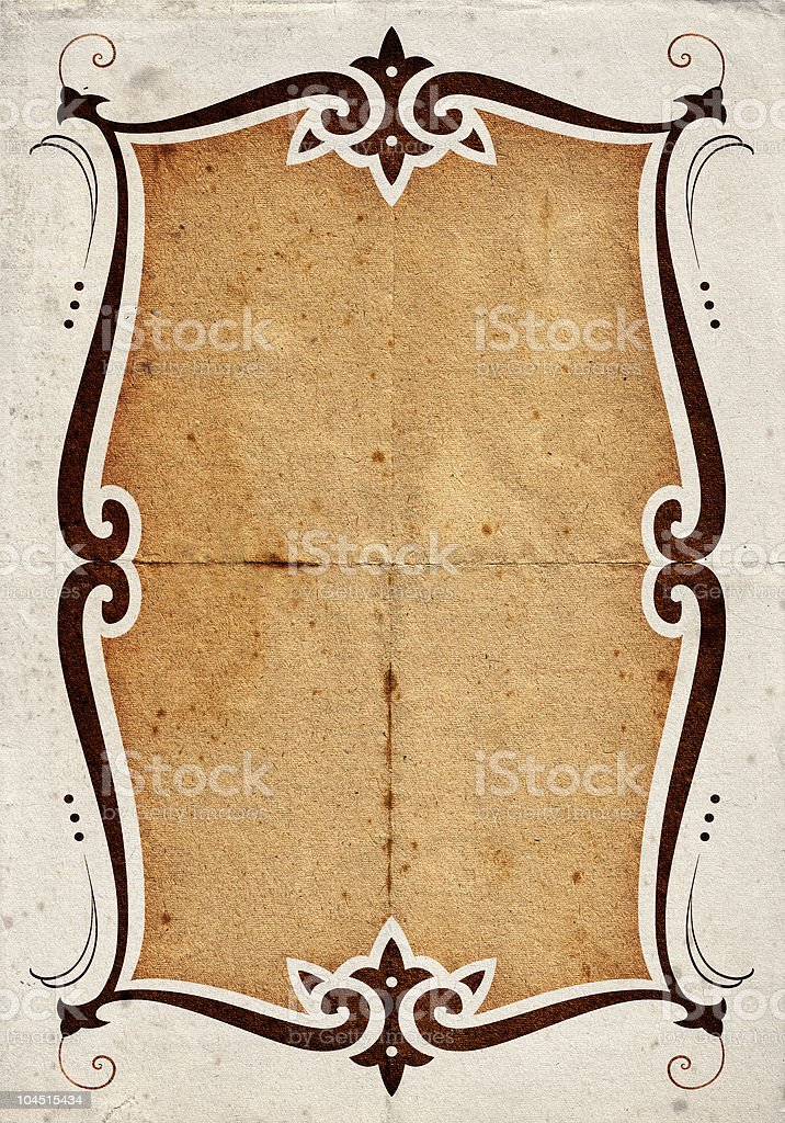 White weathered paper with a brown framed box in middle stock photo