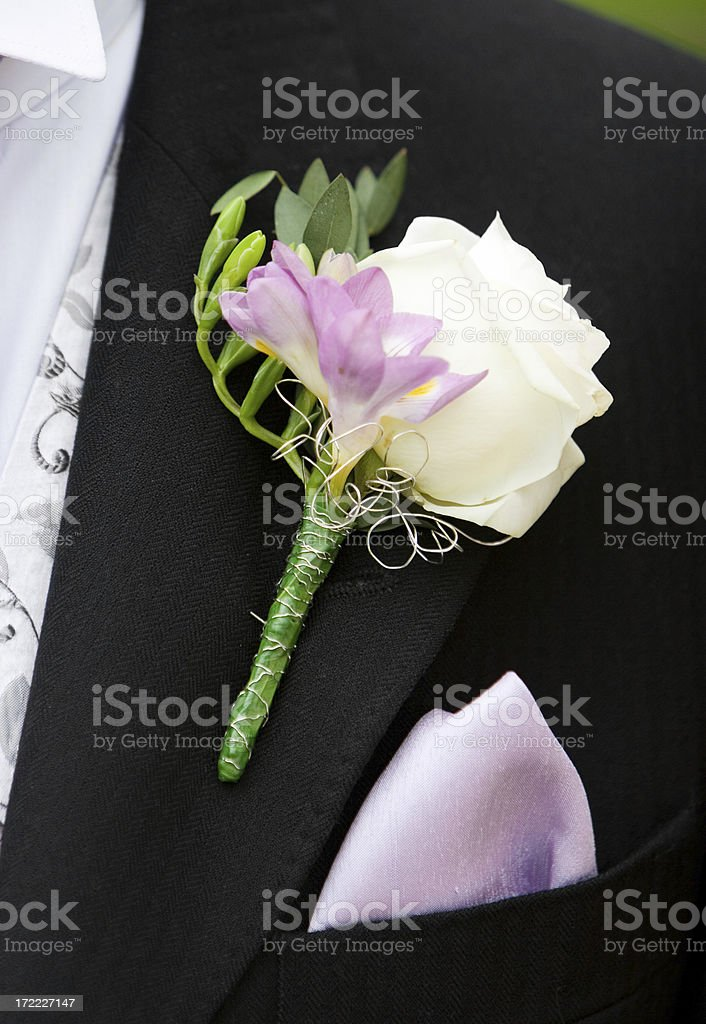 White Wedding Button Hole with waistcoat and kerchief stock photo