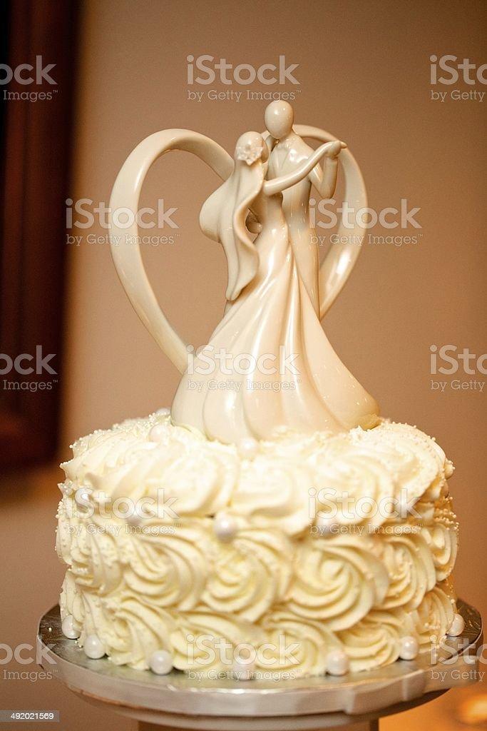 White Wedding Cake Topper stock photo