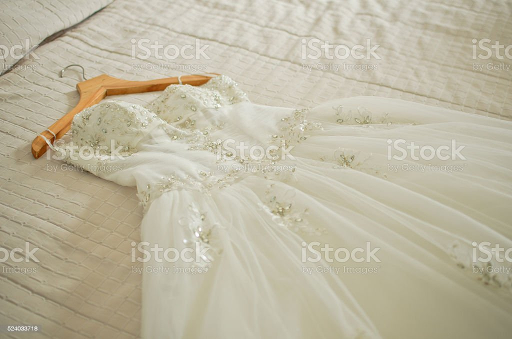 white wedding dress stock photo