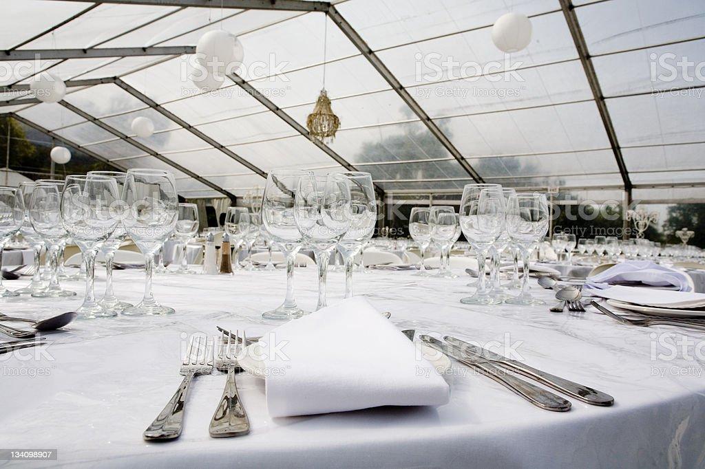 White wedding reception stock photo