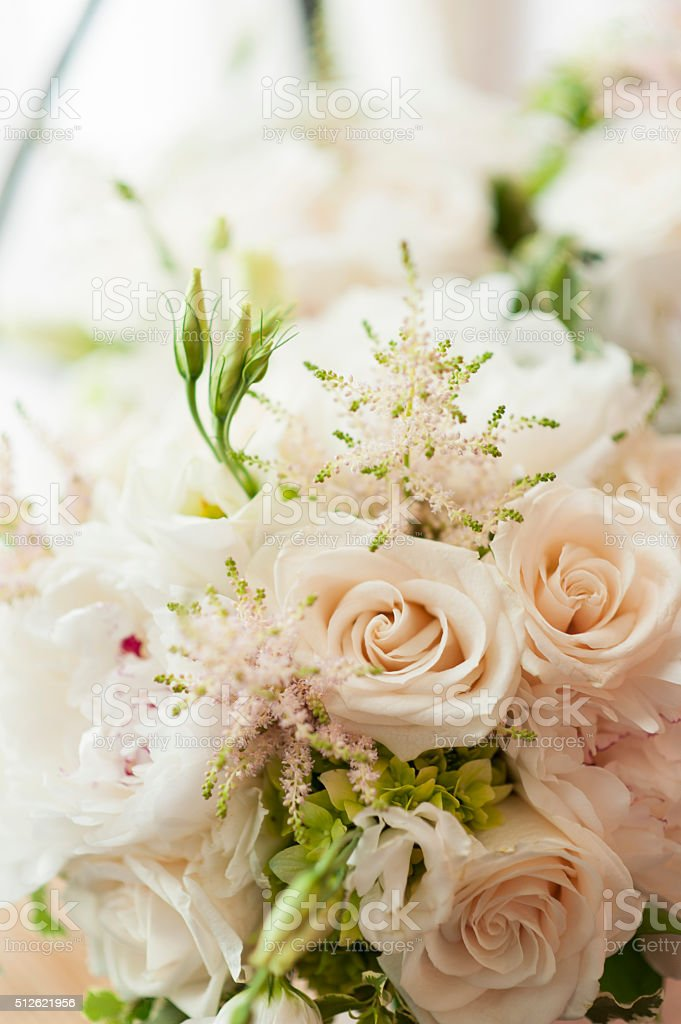 White wedding roses stock photo