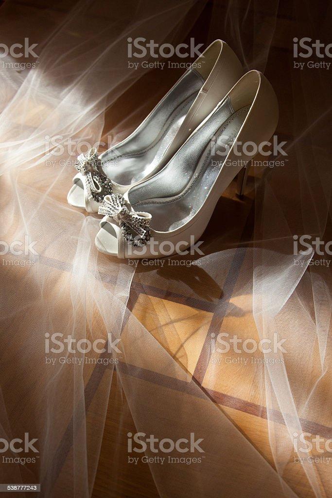 Blanc mariage chaussures photo libre de droits