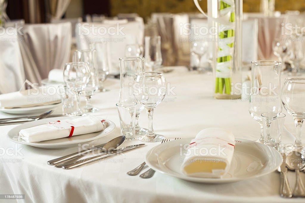 White wedding table set royalty-free stock photo