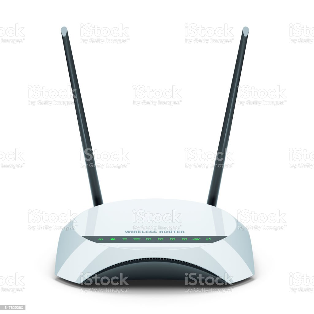 White Wi-Fi wireless router isolated on white background 3d stock photo