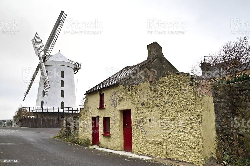 White windmill stock photo