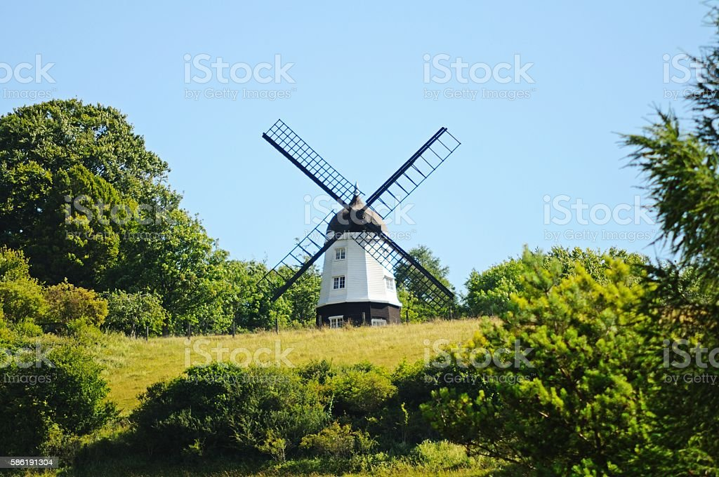White windmill, Turville. stock photo