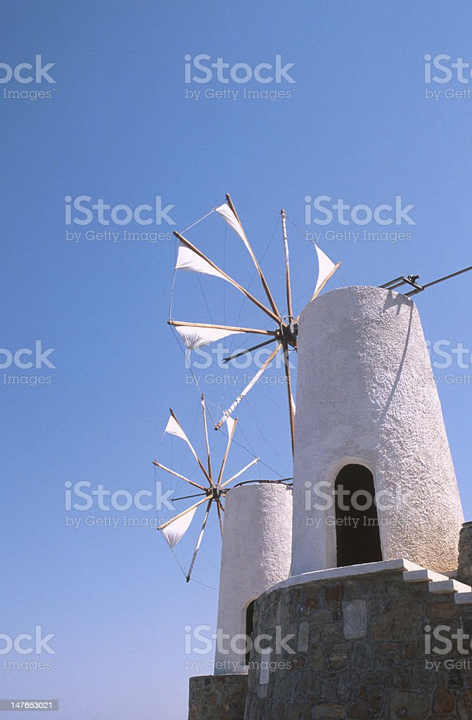 White windmills. Greek islands. royalty-free stock photo