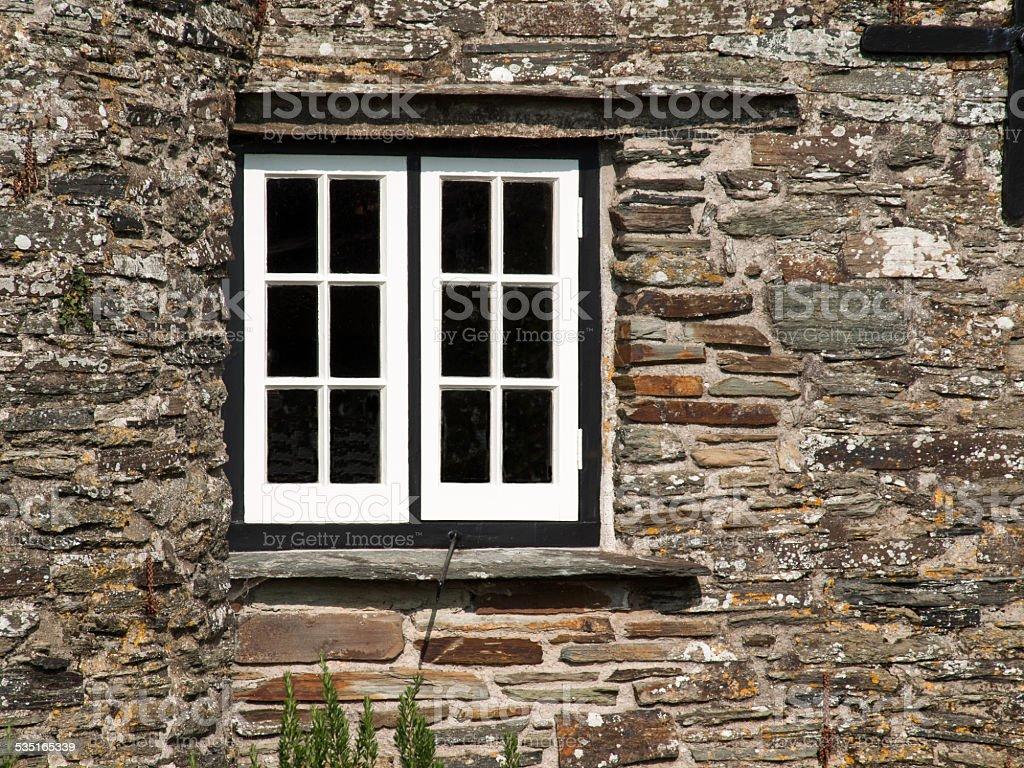 White window in a black frame stock photo