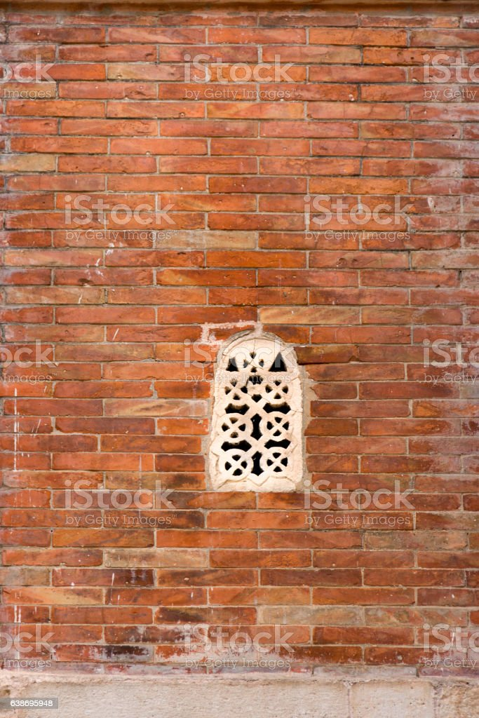 White window on orange wall stock photo