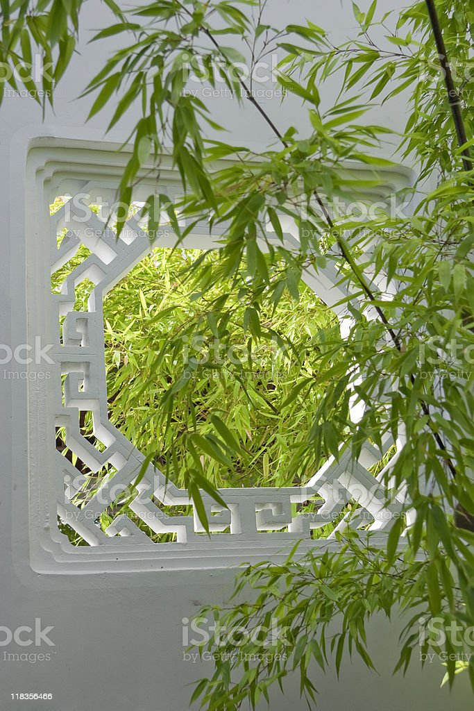 White Window with Bamboo stock photo