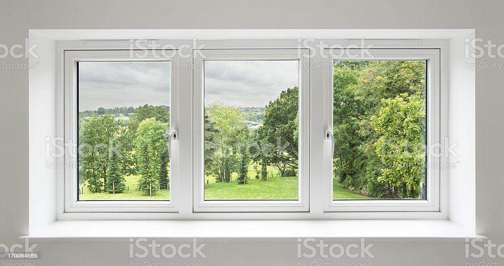 white windows with garden view stock photo