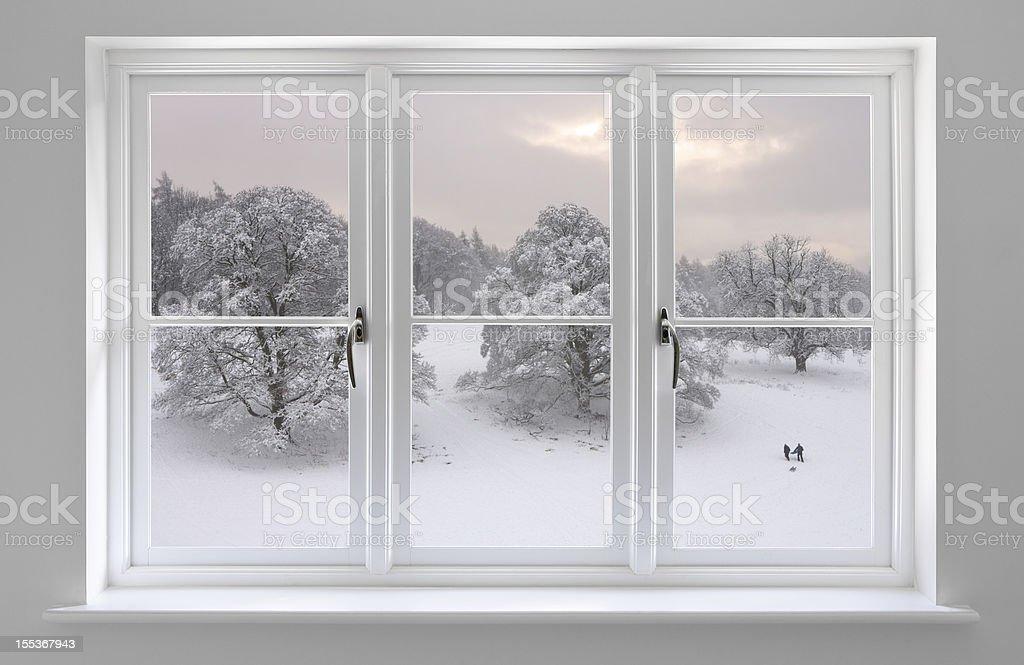white windows with Winter view stock photo
