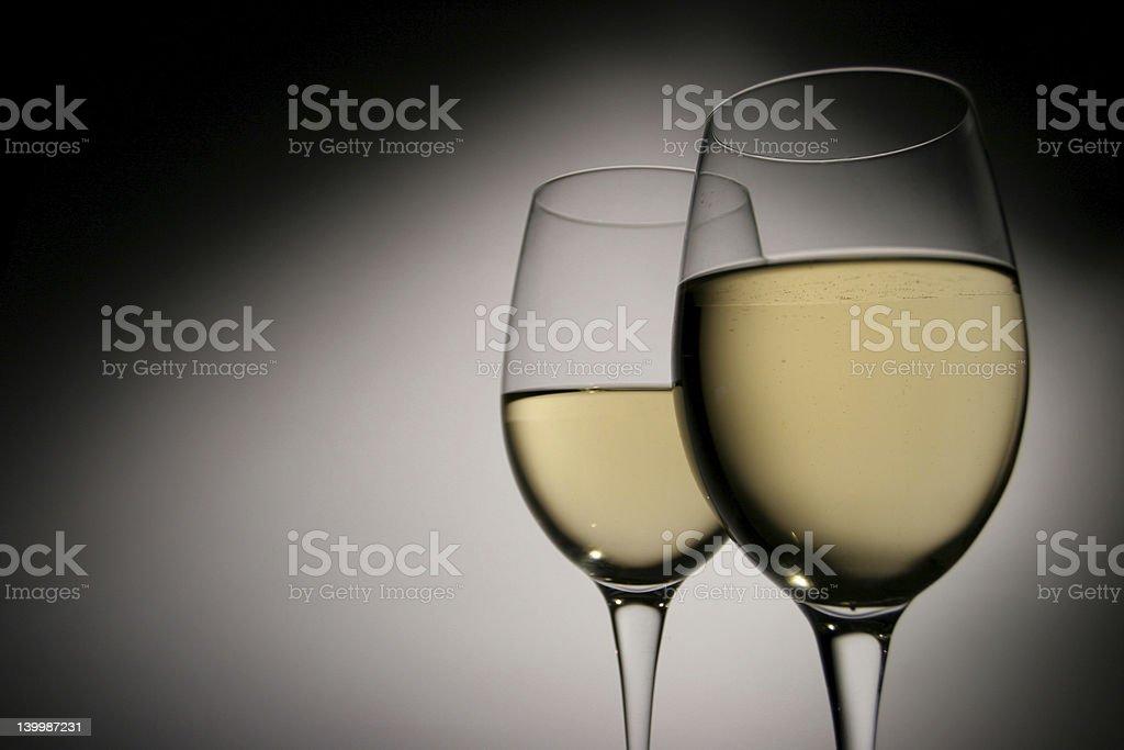 white wine 2 glasses royalty-free stock photo