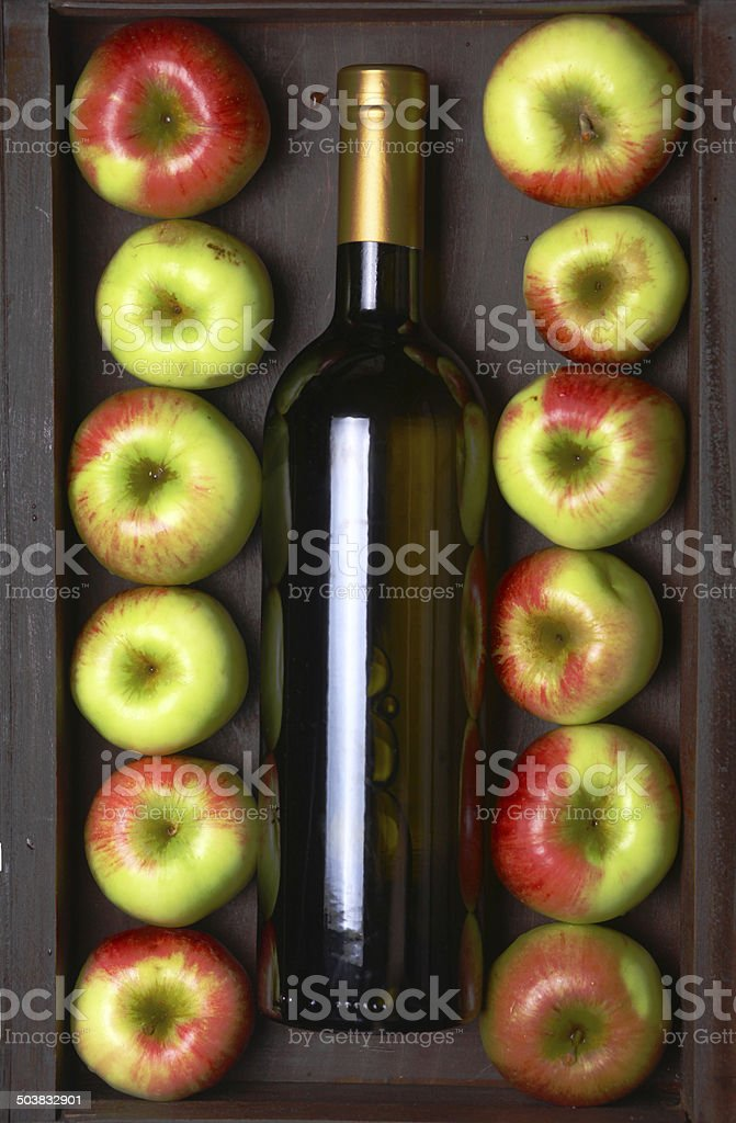 White wine and apples royalty-free stock photo