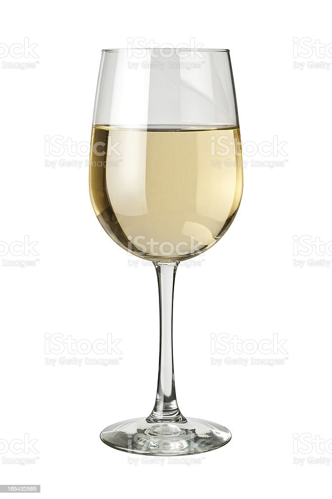 White Wine and glass isolated stock photo