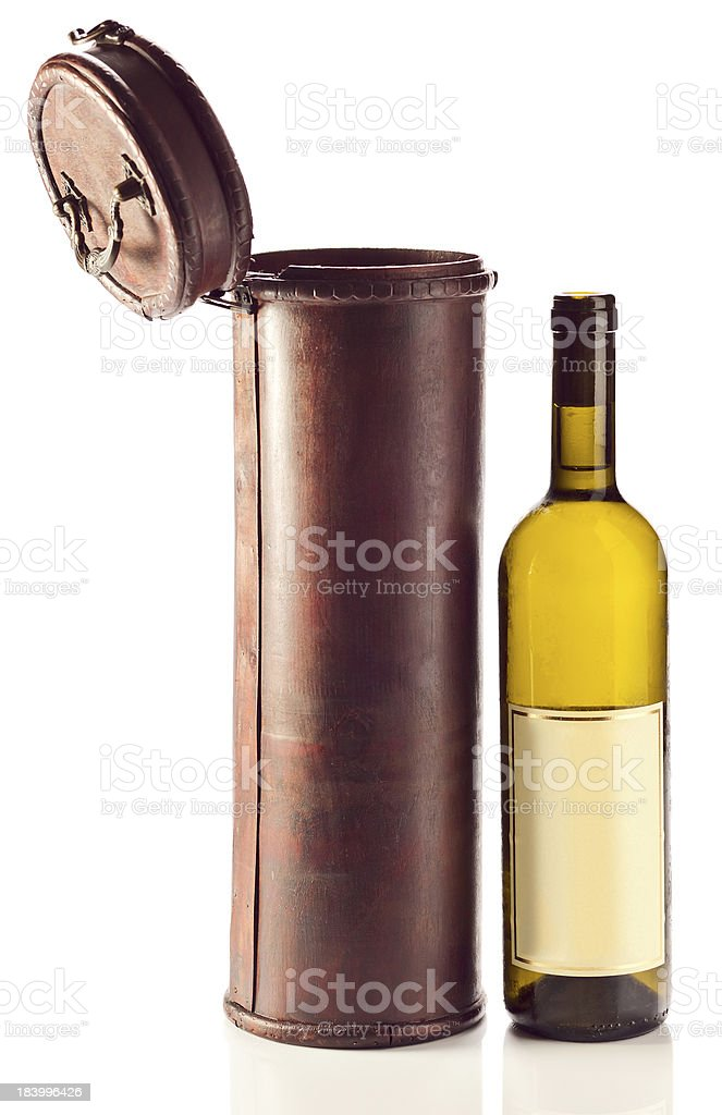 White wine and old wooden case royalty-free stock photo