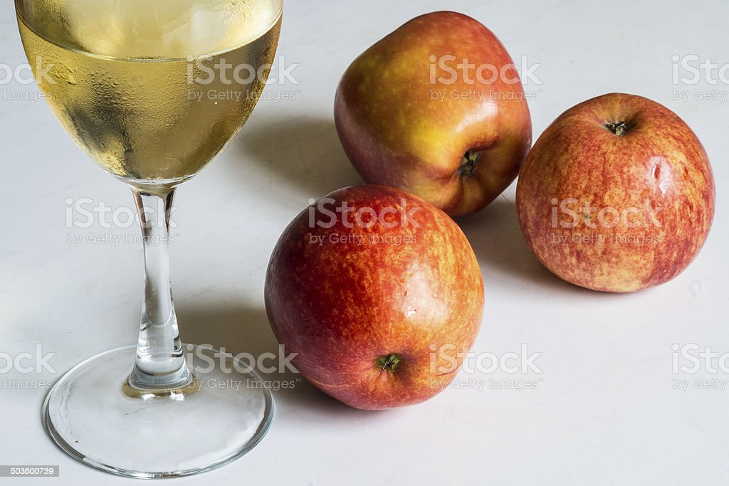 White wine and red apples royalty-free stock photo