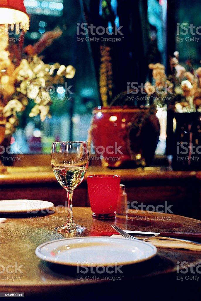 White wine at bisto table royalty-free stock photo