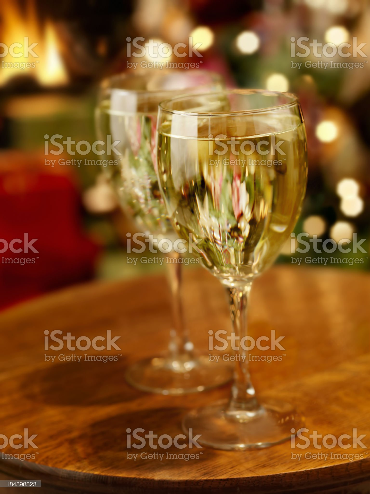 White Wine at Christmas Time royalty-free stock photo