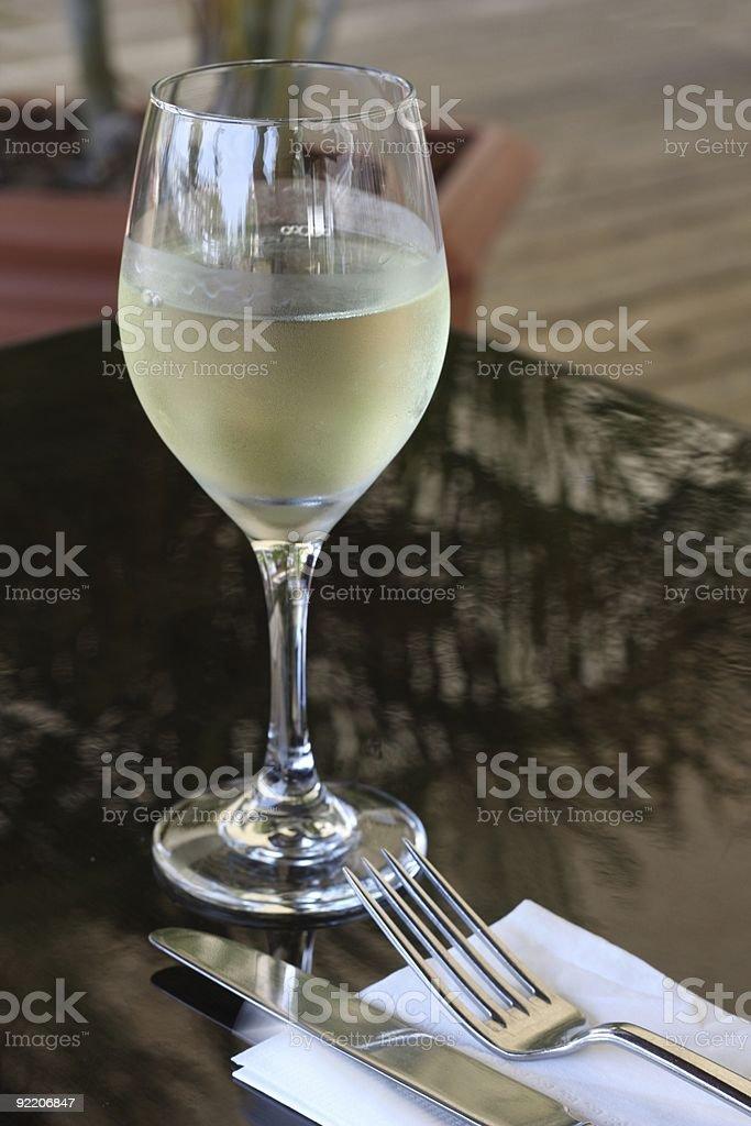 White Wine At Restaurant royalty-free stock photo
