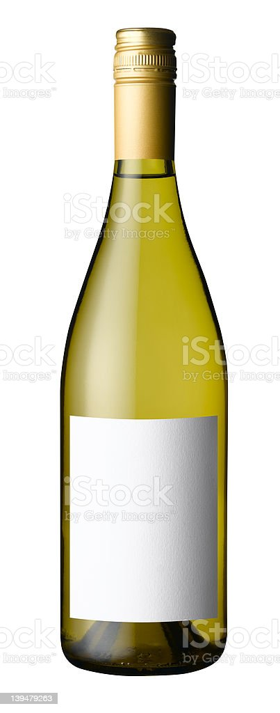 white wine bottle with clipping path royalty-free stock photo