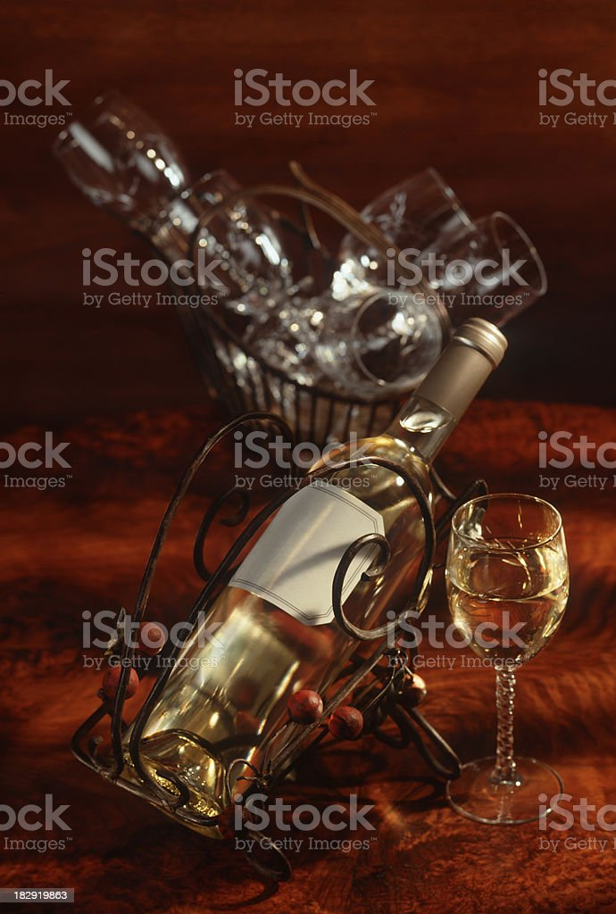 White wine bottle with glasses royalty-free stock photo