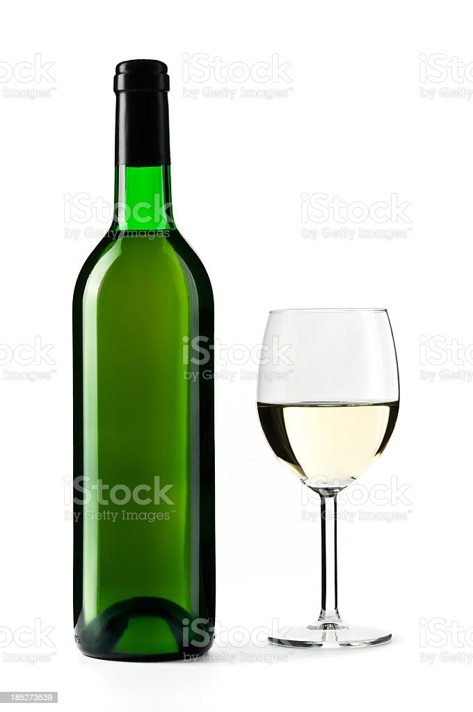 White wine bottle with wine glass, isolated on white stock photo