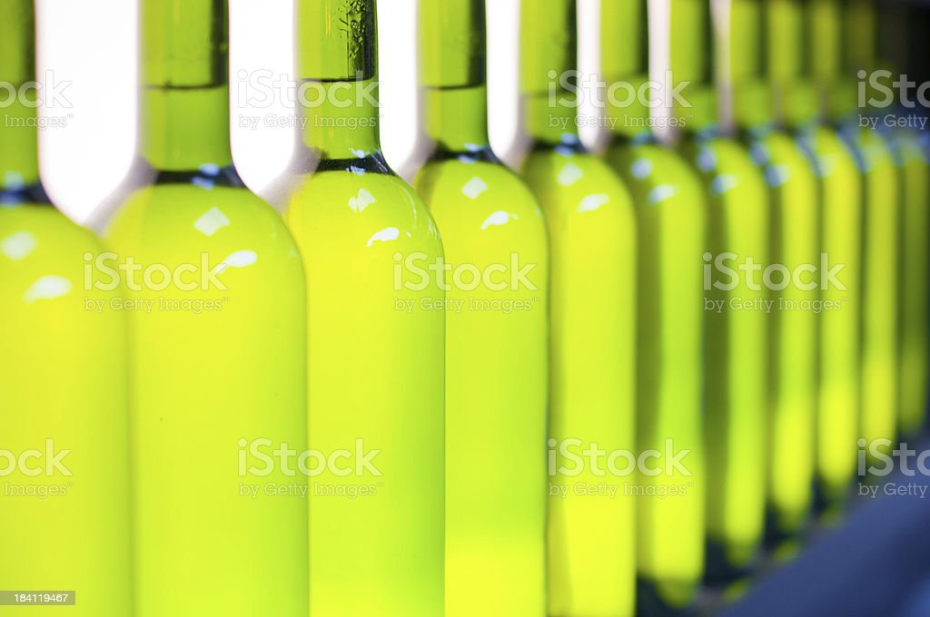 White wine bottles in a row stock photo