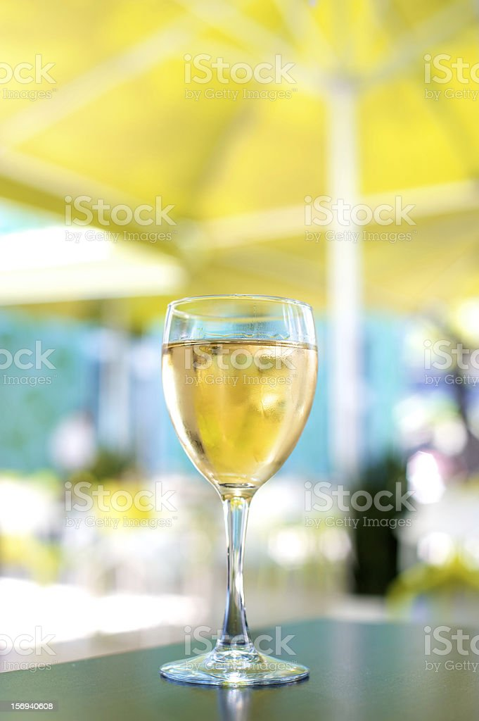 White Wine Glass Outdoor Sidewalk Cafe Restaurant stock photo