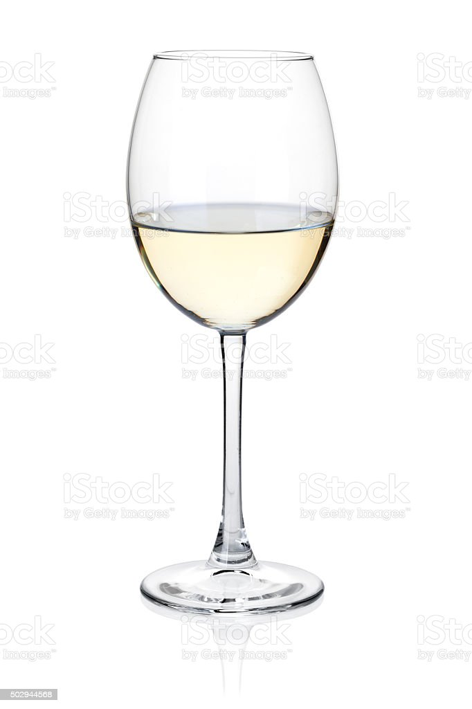 White wine glass stock photo
