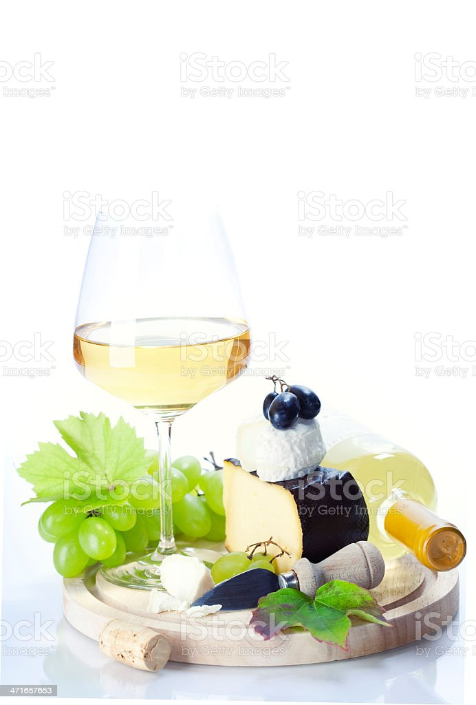 white wine, grape and cheese royalty-free stock photo